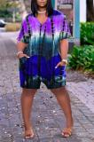 Buy Tie Dye V Neck Pocket Casual Romper, whatwears