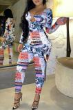 Buy Digital Print Hollow Out Long Sleeve Jumpsuit, whatwears
