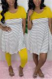 Buy Stripe Print Patchwork Short Sleeve Two Piece Sets, whatwears