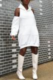 Buy Solid Color Hooded Collar Zipper Casual Dress, whatwears