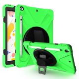 Buy 360 Degree Swivel Kickstand PC + Silicone Hybrid Case with Hand Holder Strap and Pen Slot for iPad 10.2 (2020) (2019) - Green, tvc iPad 10.2 (2019)