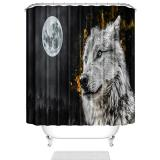 Buy HUANGLING Shower Curtain Gray Wolf 12 Hooks Set Waterproof Polyester Bathroom Decor, Banggood