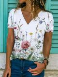 Buy Casual Floral Print Short-Sleeved T-Shirt, 27344073, BERRYLOOK