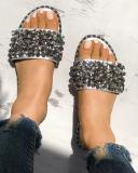 Buy Sequins Shiny Peep Toe Antiskid Sandals, boutiquefeel, silver